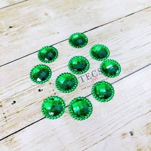 Diamond Cut Fiber Round Stone Dark Green