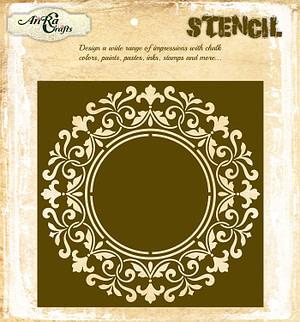 Circle Frame Clock Stencil