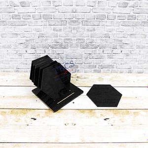 Black Acrylic Hexagonal Coaster Set