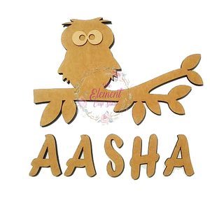 Owl on Branch Nameplate