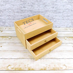 Two Drawer Tray With Flat Handle