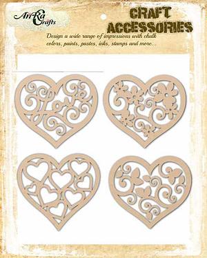 small wooden hearts cutouts