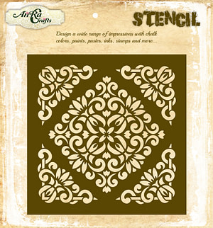 Flourish Background with Corners Stencil-2