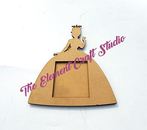 mdf princess shape product, wood color, bases, craft