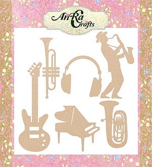 wooden cutout with shape or music instrument, craft product, mdf made
