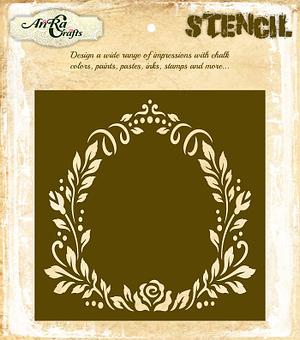 Floral Oval Frame Stencil 1