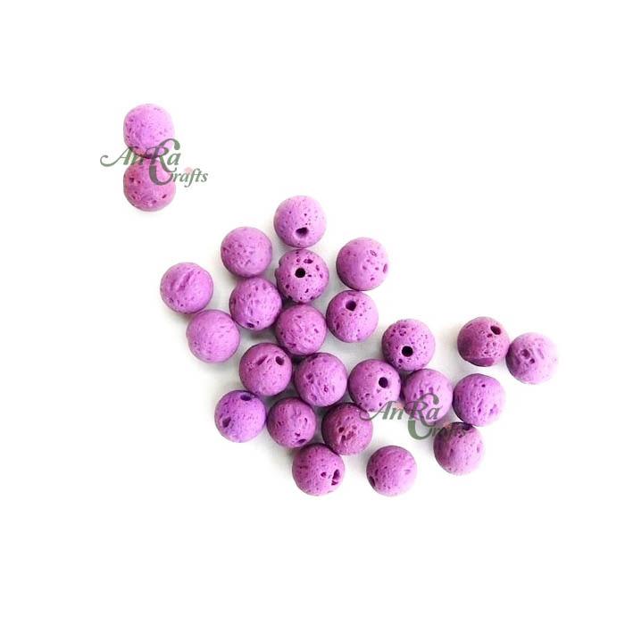Natural Lava Beads Purple